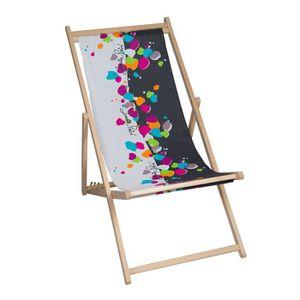 Chaise longue transat pliant jardin bain de soleil achat for Chaise longue pliante multiposition