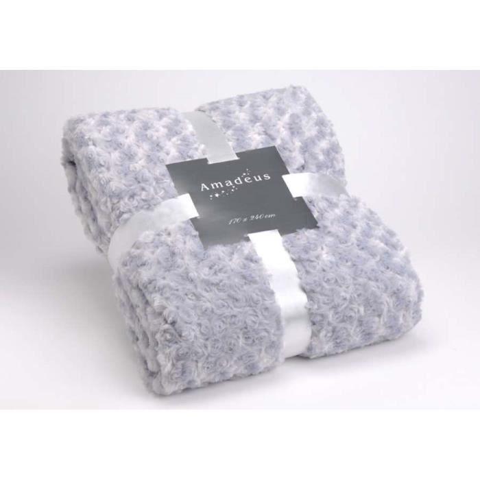 plaid amadeus couleur gris clair dimensions longueur. Black Bedroom Furniture Sets. Home Design Ideas