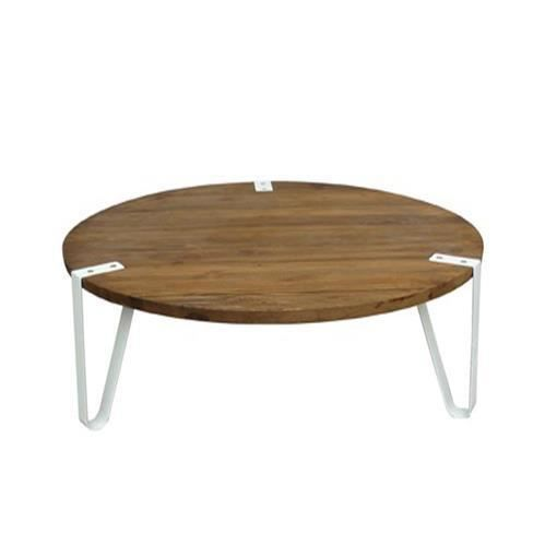 Table basse ronde bois et m tal blanc design achat for Table bois metal design