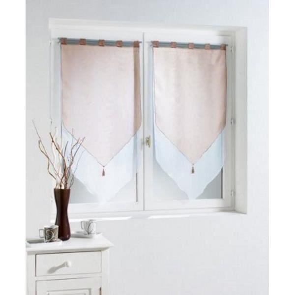 paire de voilages bicolores pompons 60x120 h cm blanc taupe achat vente rideau les soldes. Black Bedroom Furniture Sets. Home Design Ideas