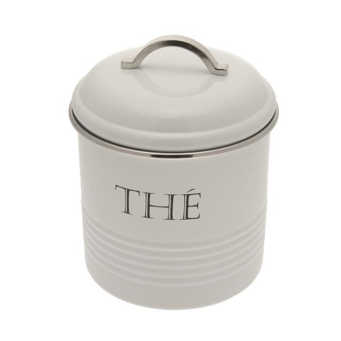 Boite a the ronde en metal blanc achat vente boites de - Boite a the en metal ...