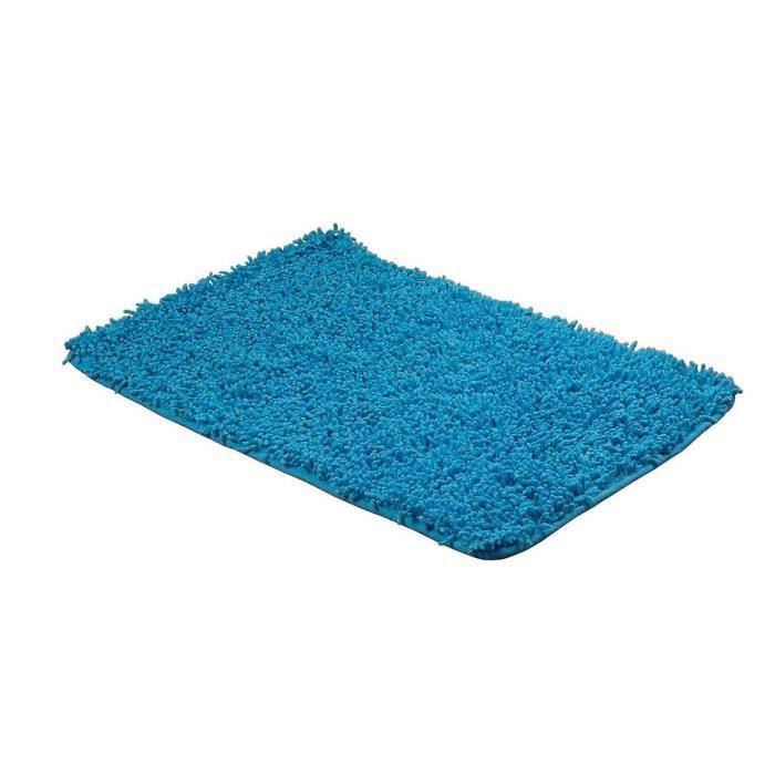 Tapis De Bains Chenille Coton Bleu 50x80 Cm Achat Vente Tapis De Bain Cdiscount