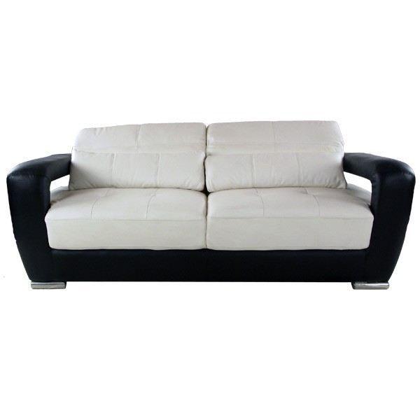 Canap cuir 3 places noir et blanc achat vente canap sofa divan cd - Canape noir et blanc ...