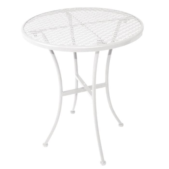 Table Moderne En Acier De Forme Ronde Coloris Blanc Achat Vente Table De Jardin Table