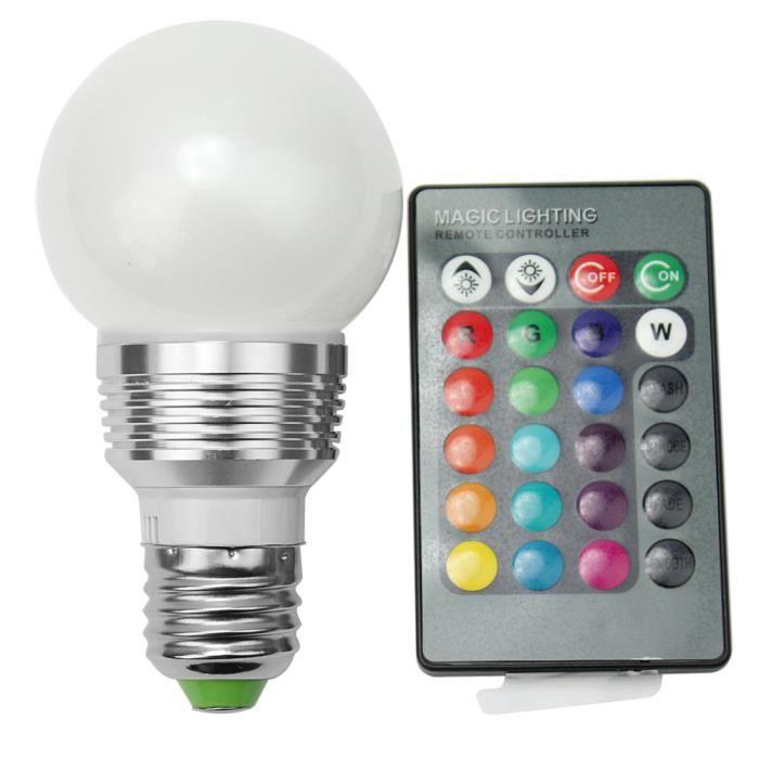 e27 lampe ampoule led rgb ac 230v 16 couleurs lumi re eclairage t l commande achat vente. Black Bedroom Furniture Sets. Home Design Ideas