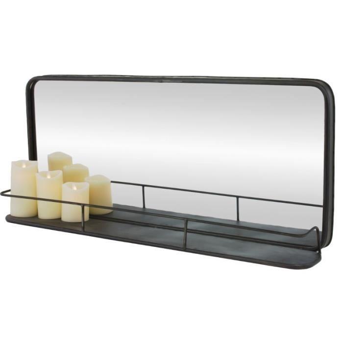 Miroir etag re long en fer m tal 91 cm 13 cm gris achat for Miroir mural long