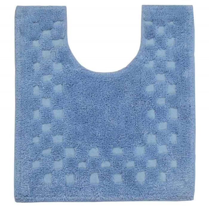Tapis Contour W C Doux En Coton Piqu De Carreaux Coloris Bleu Achat Vente Tapis Cdiscount