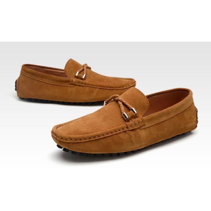 Mocassins hommes nubuck chaussures driving marron achat for Canape nubuck marron