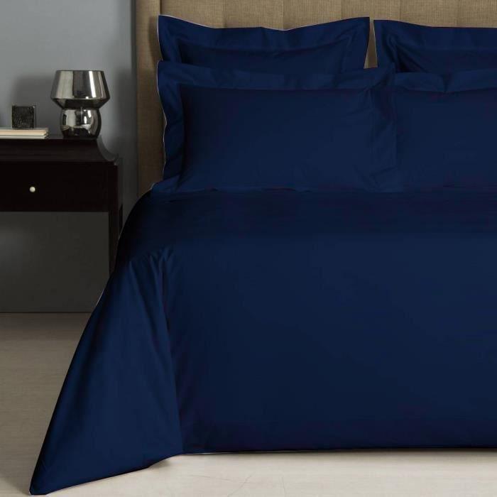 housse de couette uni bleu marine percale de coton salom prestige 240x220. Black Bedroom Furniture Sets. Home Design Ideas