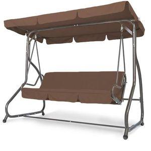 BALANCELLE Balancelle en acier avec toile marron 218 cm