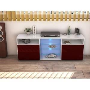 Meuble tv design laqu blanc et bordeaux led m achat vente meuble tv me - Meuble design bordeaux ...