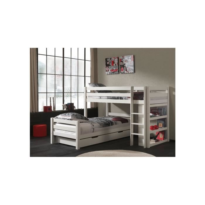 lit superpos d 39 angle enfant pin massif blanc pino 209. Black Bedroom Furniture Sets. Home Design Ideas