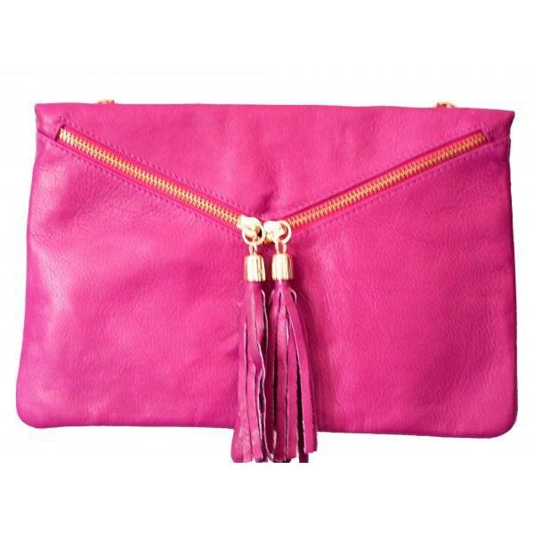 Sac main pochette cuir pompons fabriqu e achat - Pochette rangement pour sac a main ...