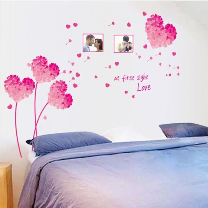 Fleurs d 39 amour autocollant mural bricolage home decor for Autocollant mural