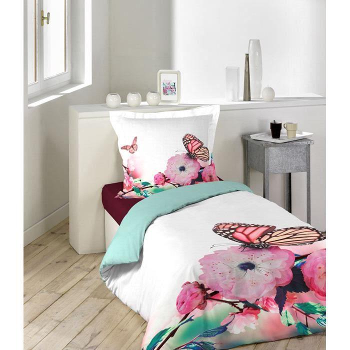 parure de couette 2 pi ces 140x200 57fils douceur achat vente parure de couette cdiscount. Black Bedroom Furniture Sets. Home Design Ideas