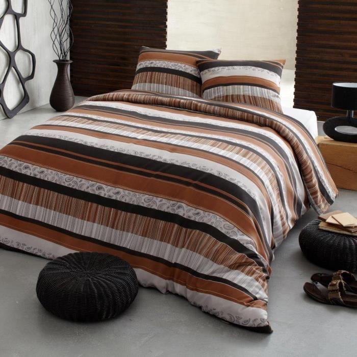 parure de lit 4 pi ces 2 personnes imprim e ethnic achat vente parure de drap cdiscount. Black Bedroom Furniture Sets. Home Design Ideas