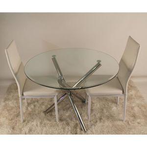 Table a manger verre 4 chaises achat vente table a for Table en verre plus chaise