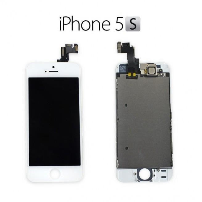 ecran iphone 5s blanc avec bloc haut lcd retina sans. Black Bedroom Furniture Sets. Home Design Ideas