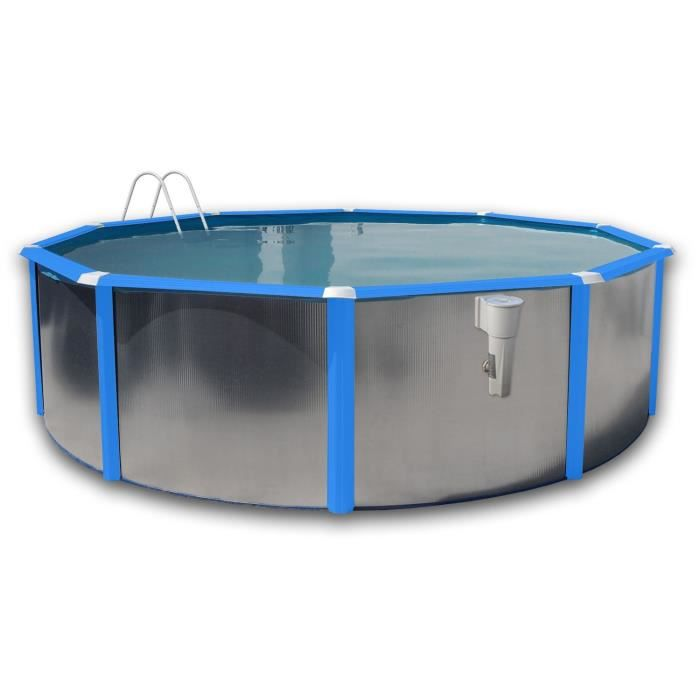 Silver luna bleue piscine en acier circulaire 460x120 for Liner 460x120 pour piscine ronde