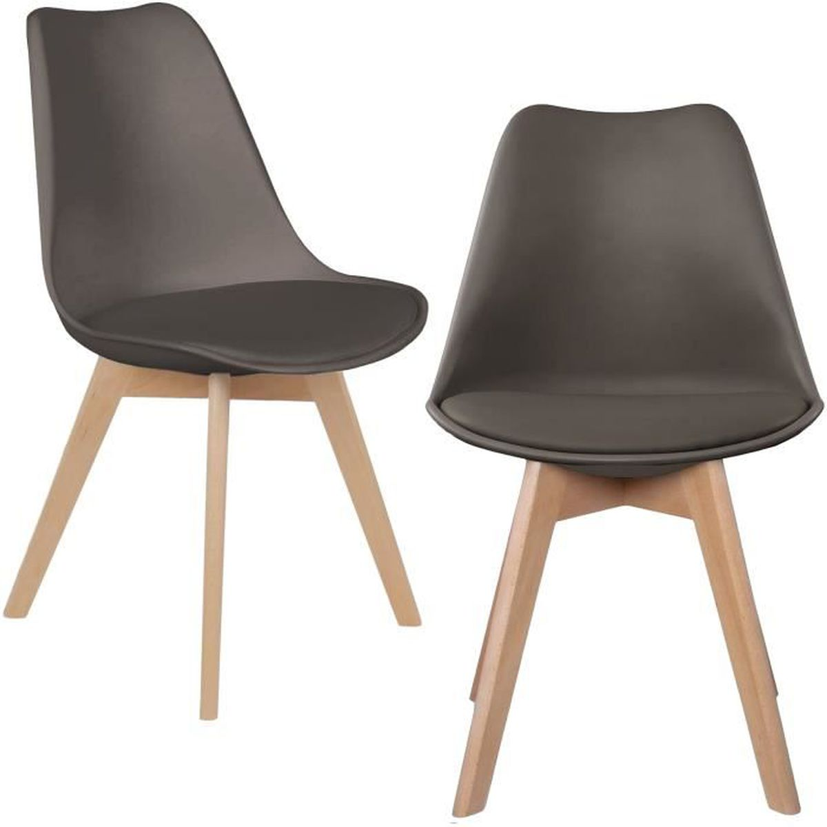 ensemble lot de 2 chaise scandinave coque polypropyl ne avec coussin gris taupe achat vente. Black Bedroom Furniture Sets. Home Design Ideas