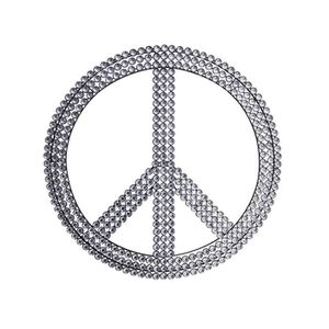 Plaque d co strass peace love achat vente stickers for Decoration maison strass
