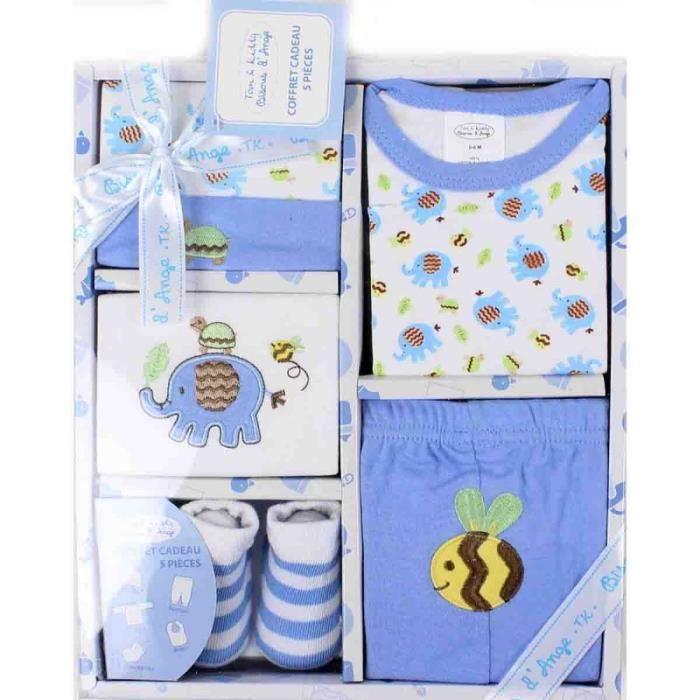 coffret naissance 5 pi ces b b gar on bleu bleu achat vente coffret cadeau textile. Black Bedroom Furniture Sets. Home Design Ideas