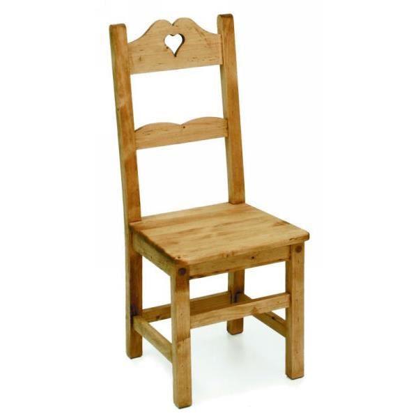 chaise coeur pin massif ptit coeur meuble house achat vente chaise de bureau cdiscount. Black Bedroom Furniture Sets. Home Design Ideas