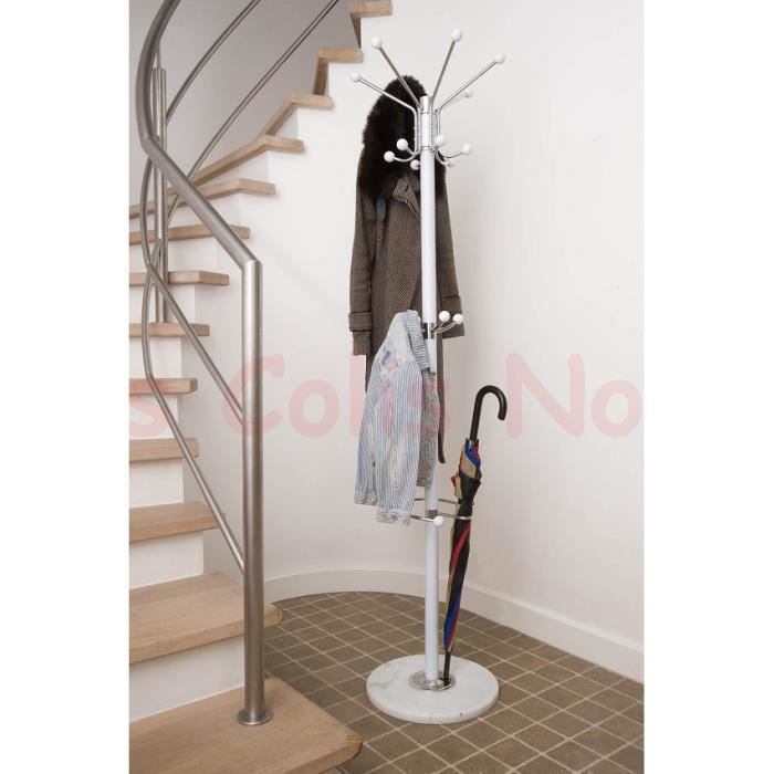 Porte manteau 1m76 pied marbre blanc achat vente porte for Porte manteau maison