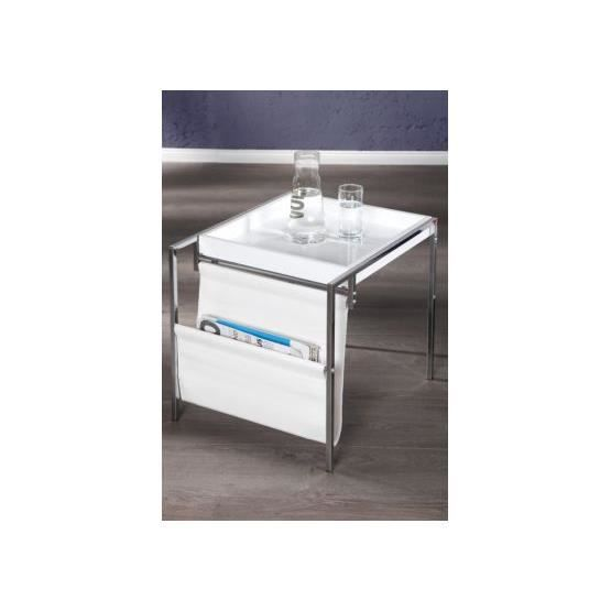 Table d 39 appoint design liberto blanc achat vente table - Table d appoint transparente ...