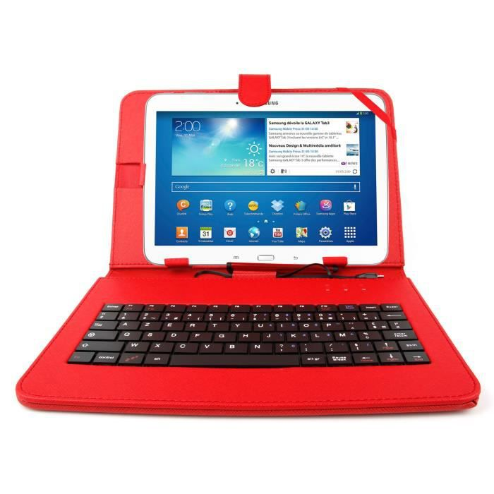 etui rouge clavier pour samsung tab 3 10 1 prix pas. Black Bedroom Furniture Sets. Home Design Ideas