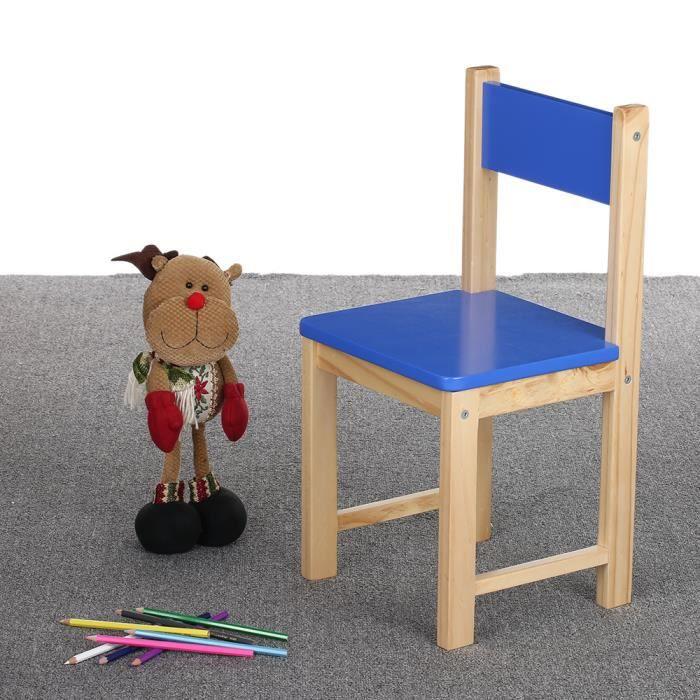 Ikayaa chaise mignon en bois de pin pour enfants capacit 80kg couleur en bleu achat vente Chaise pour table en bois