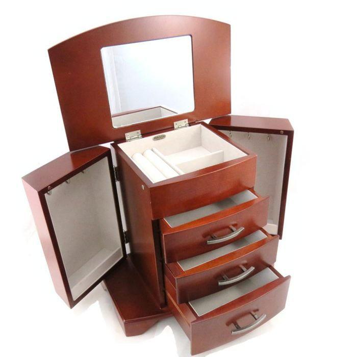 coffret bijoux bois doreen marron acajou achat vente boite a bijoux coffret bijoux. Black Bedroom Furniture Sets. Home Design Ideas