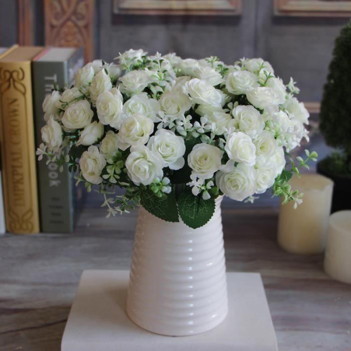 assez de charme d licieux 15 buds 1 bouquet mini rose artificielle fleur de soie mari e d calque. Black Bedroom Furniture Sets. Home Design Ideas