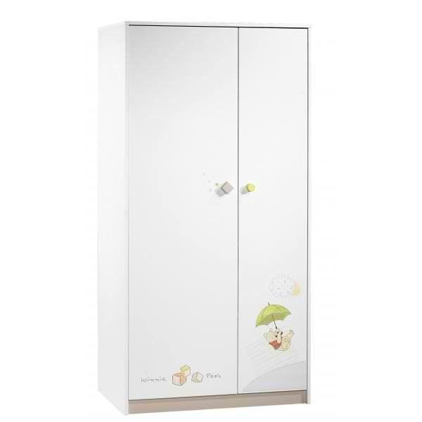 Winnie l 39 ourson armoire 2 portes blanc vert sorbet et gris noisette achat vente armoire for Armoire bebe winnie lourson