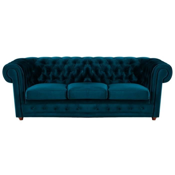 canap u00e9 chesterfield 3 places velours turquoise - achat    vente canap u00e9 - sofa