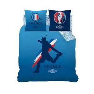Housse de couette bleue euro 2016 100 coton achat for Housse de couette bleue