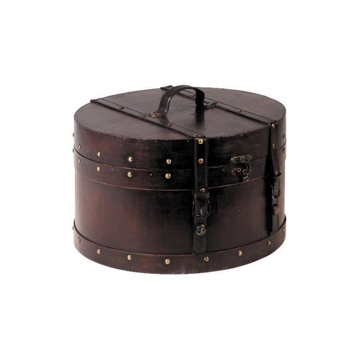 boite de rangement ronde en bois et simili cuir achat. Black Bedroom Furniture Sets. Home Design Ideas