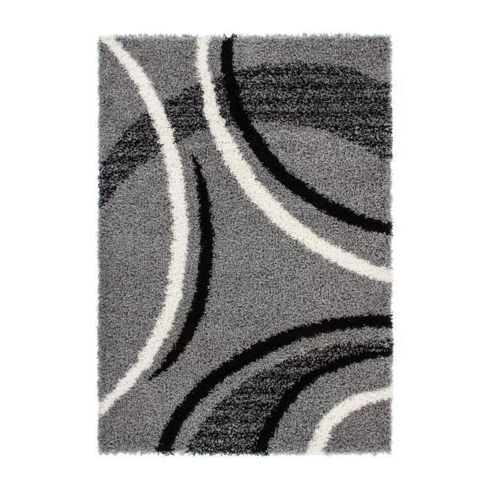 tapis de salon shaggy moderne cercle le design argent. Black Bedroom Furniture Sets. Home Design Ideas