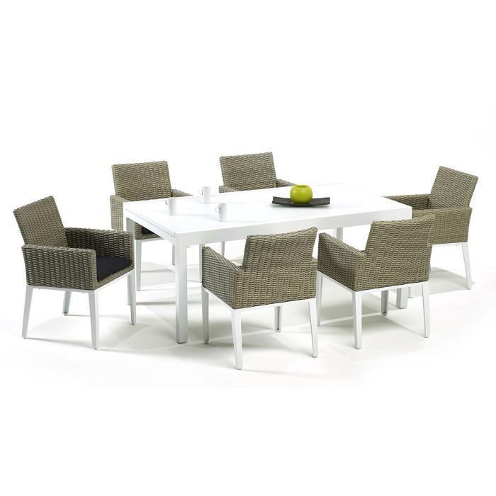 Kangui Salon De Jardin L A Table Extensible Aluminium Blanc Et R Sine Tress E Achat