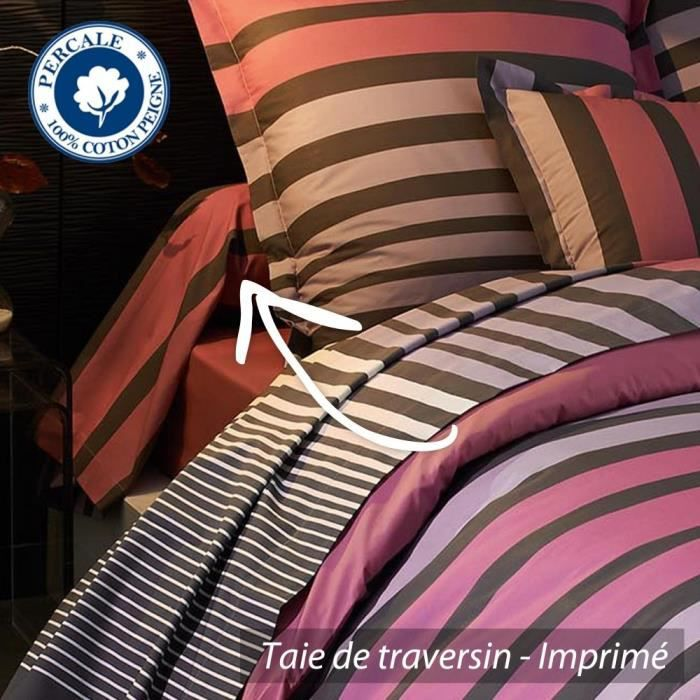 taie de traversin 240x43 cm percale pur coton s achat. Black Bedroom Furniture Sets. Home Design Ideas