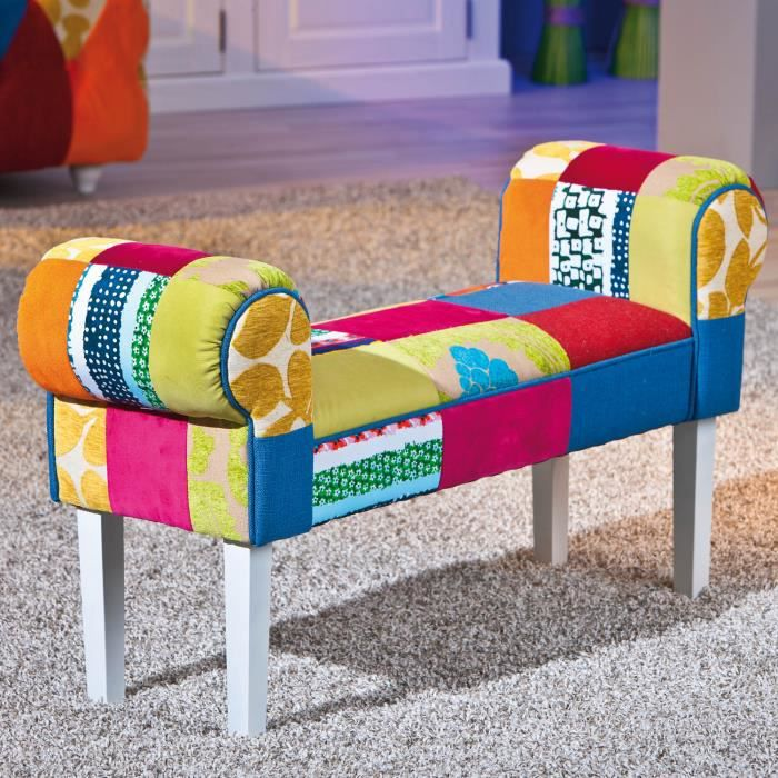 banc assise si ge tabouret bout de canap design patschwork multicolore achat vente banc. Black Bedroom Furniture Sets. Home Design Ideas