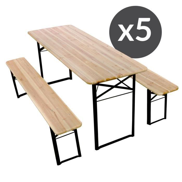 Table et bancs pliants bois pique nique lot de 10 - Table et bancs pliants ...