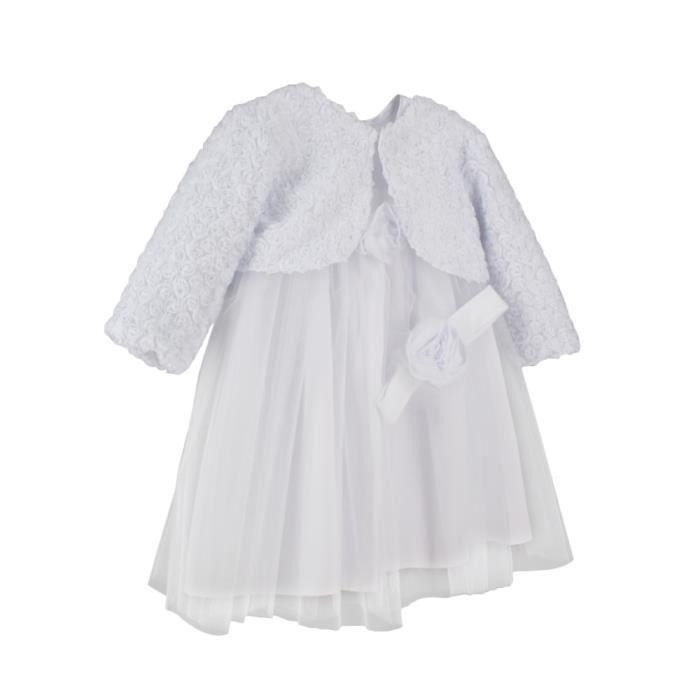 Robe de bapt me fille hiver jade blanc achat vente robe de c r monie c - Couleur bapteme fille ...