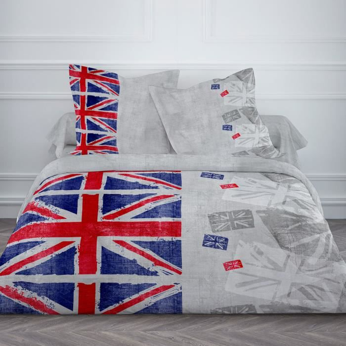 housse de couette 220x240 2 taies london used 100 coton 57fils achat vente housse de. Black Bedroom Furniture Sets. Home Design Ideas