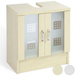 Meuble salle de bain vasque 70 cm achat vente meuble for Meuble avec porte en verre