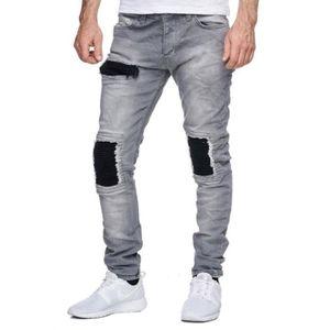 JEANS Jeans destroy gris homme KC1981