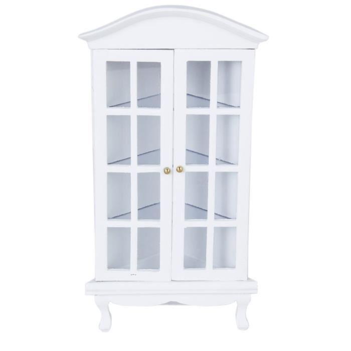 armoire de coin miniature meuble pour maison de poup e 1 12 blanc achat vente univers. Black Bedroom Furniture Sets. Home Design Ideas