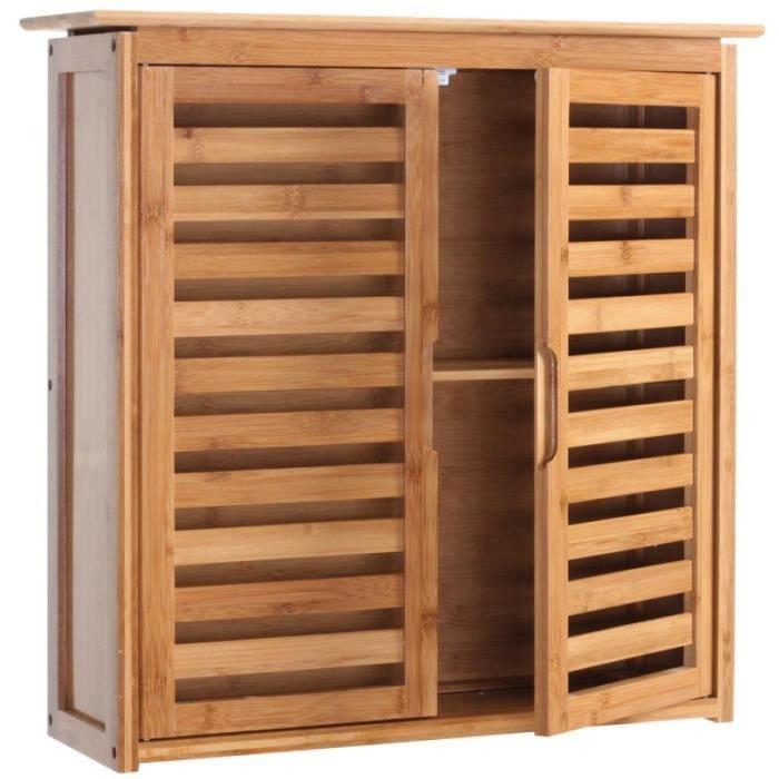 Armoire tag re meuble pour salle de bain en bambou for Armoire pour salle de bain
