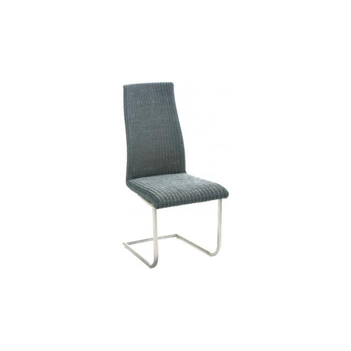 Chaise julia loom gris pieds s en acier achat vente chaise acier polyur thane cdiscount for Chaise en acier poitiers