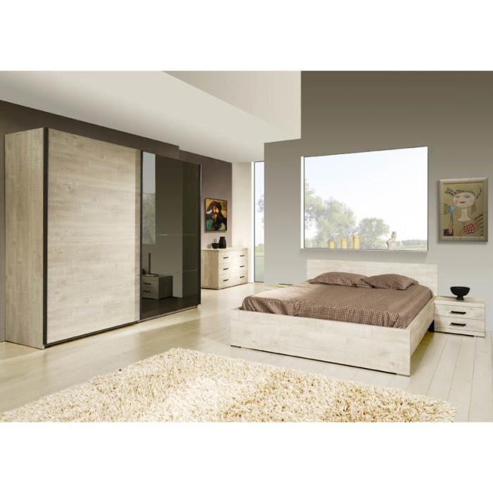 Ensemble chambre coucher compl te contemporaine avec armoire 260 cm coloris - Chambre a coucher cdiscount ...